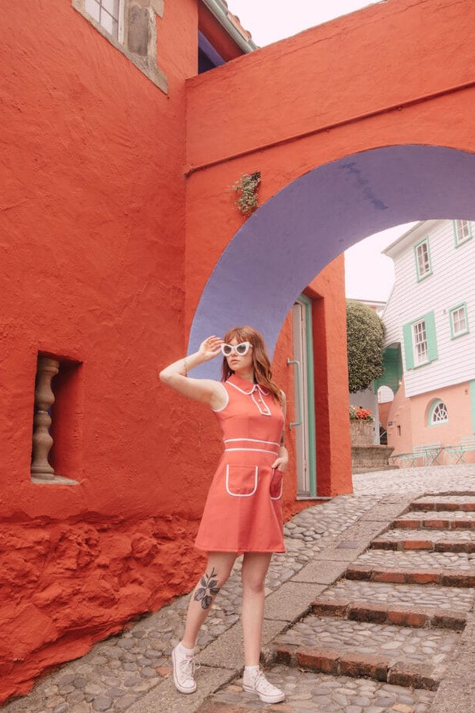 girl in sixties outfit at portmeirion