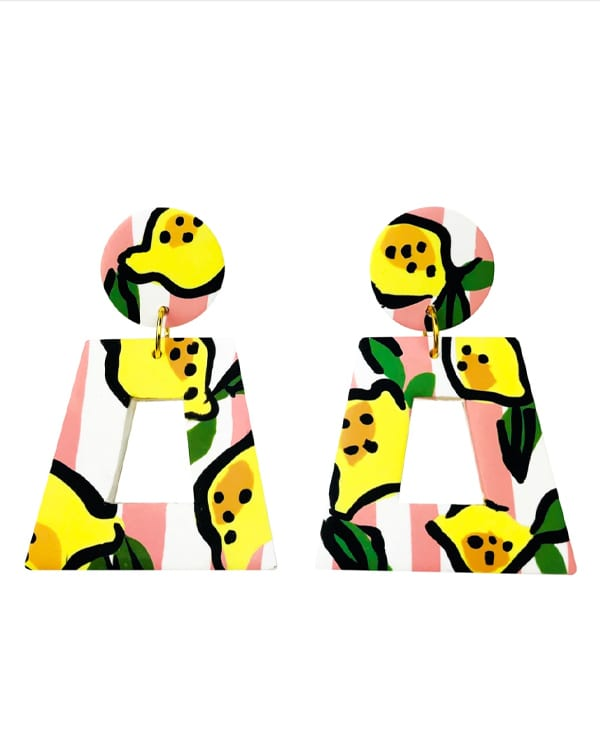pink and white striped earrings with lemons on