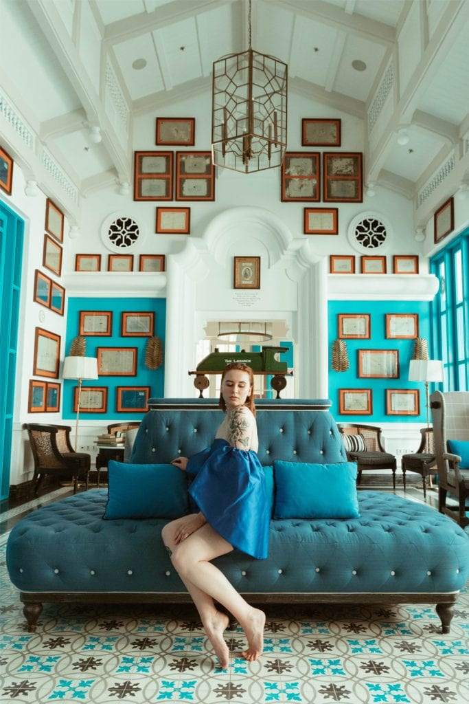 girl in a blue room