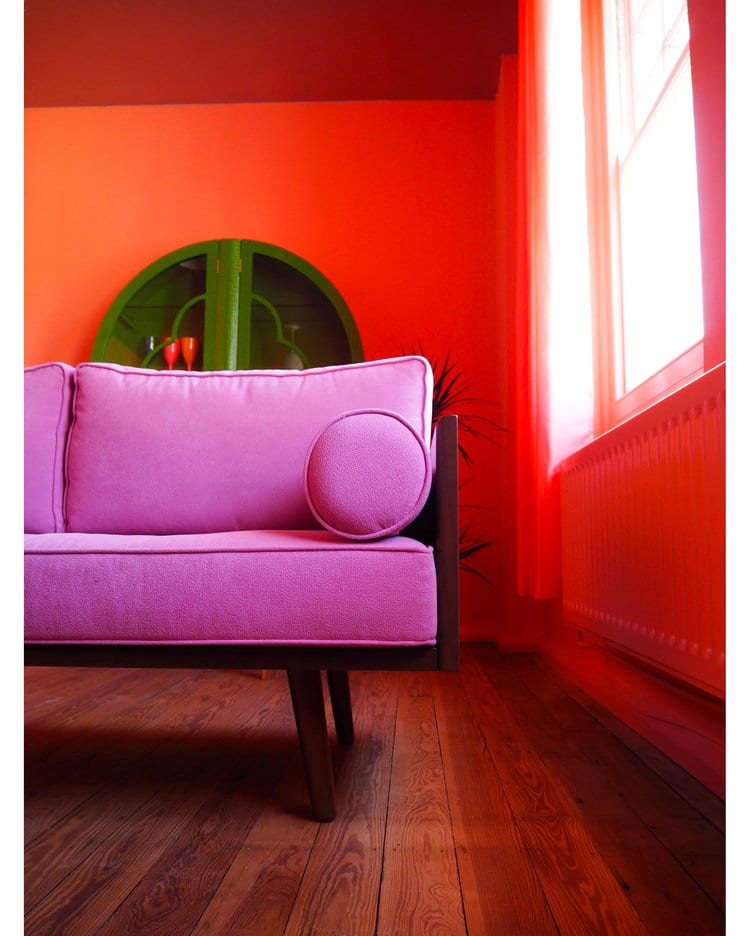 A brightly coloured living room