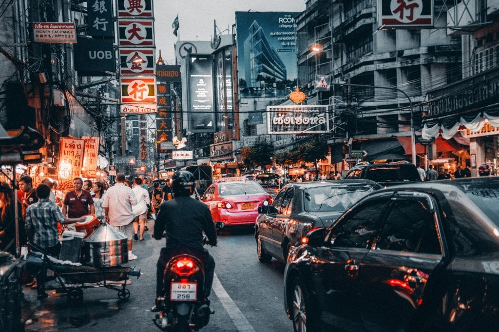 A busy street in Thailand